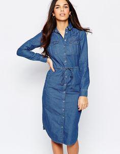 52e4d1cd90 Image 1 of Warehouse Denim Shirt Dress Long Denim Shirt Dress