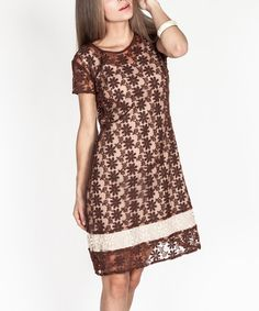 Brown & Ivory Floral Lace Shift Dress - Women by Tantra #zulily #zulilyfinds