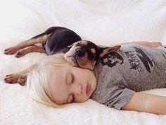 dogs sleeping with babies #cute