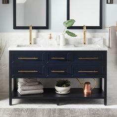 60 Robertson Mahogany Console Double Vanity for Rectangular Undermount Sinks - Midnight Navy Blue - Bathroom Vanity Cabinet, Vanity Set, Vanity Ideas, Blue Vanity, Vanity Basin, Wood Vanity, Bathroom Furniture, Bathroom Interior, Antique Furniture