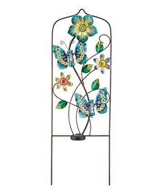 Look at this #zulilyfind! Blue Solar Butterfly Trellis #zulilyfinds. Just add a touch of color when the summer flowers come out. Lovely and lots of colors to choose from.