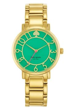 gold bracelet gramercy w/ bud green enamel cutout kate spade watch Jewelry Box, Jewelry Watches, Jewelry Accessories, Fashion Accessories, Jewlery, Steel Jewelry, Fashion Jewelry, Kate Spade Watch, The Bling Ring