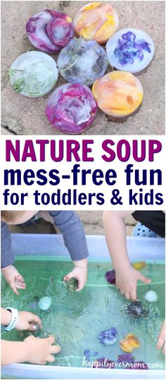 How to make an easy, mess-free sensory bin for a perfect spring or summer day. Love the cold, sensory element to this sensory bin and how nature is included in this activity as well. Plus, must read tips to help activities last for more than five minutes!!