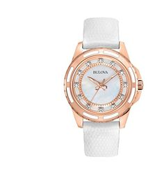 b87068063c8 Amazon.com  Bulova Women s 98P119 Stainless Steel Diamond-Accented Quartz  Watch with Leather Band  Bulova  Watches
