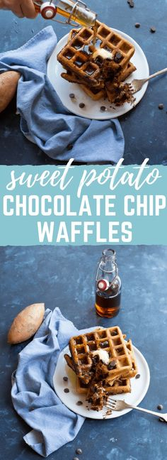 Gluten free and so YUM! Sweet potatoes and chocolate for breakfast? Swap light coconut milk or dairy-free probiotic beverage for the kefir to make these dairy-free! Gluten Free Recipes For Breakfast, Gluten Free Breakfasts, Healthy Recipes, Healthy Breakfasts, Healthy Eats, Cooking Recipes, Waffle Recipes, Brunch Recipes, Pancakes And Waffles