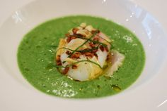 Smoked Hake, slow cooked egg, wild garlic and curry puffed rice