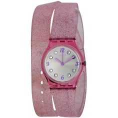Swatch Swiss Brillante Pink Glitter Silicone Double Wrap Strap Ladies... ($42) ❤ liked on Polyvore featuring jewelry, watches, silicone jewelry, pink dial watches, pink watches, swatch jewelry and swatch watches