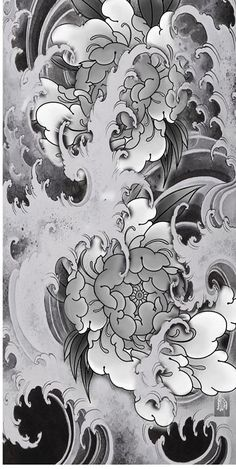 Japanese Flower Tattoo, Japanese Flowers, Japanese Waves, Japanese Art, Koi Tattoo Design, Tattoo Designs, Irezumi, Tattoo Sketches, Tattoo Drawings