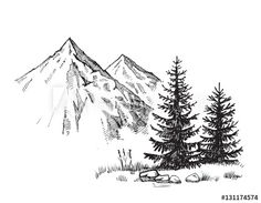 landscape drawings Similar Images, Stock Photos amp; Vectors of Hand drawn vector illustration of mountain landscape - 524492638 Landscape Sketch, Landscape Drawings, Cool Landscapes, Landscape Paintings, Landscape Design, Pencil Art Drawings, Easy Drawings, Drawing Sketches, Mountain Sketch