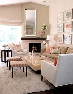 Would love the soft and girly cream, peach, and pink colors for a bedroom