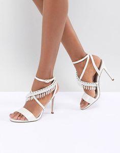 33dfe3b8a91 ASOS DESIGN Hydro Bridal Embellished Heeled Sandals Asos