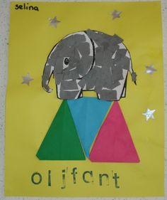 De olifant vullen de kinderen op met stukjes grijs papier (knippen of scheuren). De trapeze is gemaakt van een 'vlieger' (puntje vervolgens ook naar achter vouwen).