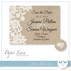 Paper Lace Save the Date - Digital Printable File - DIY Wedding Invite PDF on Etsy, $17.02
