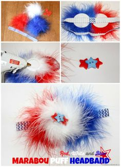 Red, White and Blue Marabou Puff Headband - The Ribbon Retreat Blog