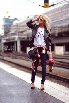 leather + flannel + sunglasses