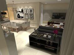 Projeto integrando sala de jantar, sala de tv e estar.