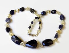 Chunky Violet Handmade Statement Necklace, Natural Semiprecious Stone Jewelry, Iolite Citrine Choker, Special Occasion Jewelry, ALFAdesigns