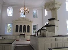 Three Tiered Colonial Pulpit one of only a handful in use today. Aquia Church, Stafford, VA