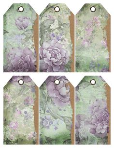 Vintage Purple Flowers Torn Tags – Free Printable Vintage Flower Tags Set of 6 gorgeous vintage flower tags are ideal for Easter Baskets, Birthday Gifts, Scrapbooking, and Gift Tags. The soft hues of green and purple create a cottage chic look. Vintage Tags, Vintage Labels, Vintage Ephemera, Free Printable Tags, Free Printables, Printable Vintage, Birthday Tags, Birthday Gifts, Printable Scrapbook Paper