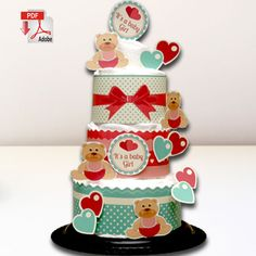 Girly Bears and Hearts Diaper Cake Template