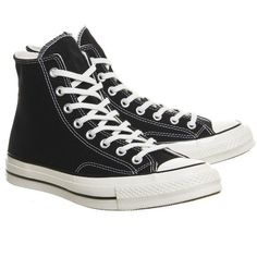 Converse All Star Hi 70 Black ($86) ❤ liked on Polyvore featuring shoes, converse shoes, kohl shoes, converse footwear and black shoes