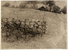 Julian Alden Weir - The Barn Lot Etching & Drypoint (19 x 26 cm) 1887