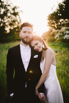 Kate Halfpenny, chic, minimalist wedding dress, sleek satin gown for a woodland wedding, from luxury bridal boutique Leonie Claire in Brighton.