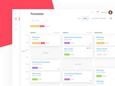 Hello again!Here is a little concept of a timetable for classes. It's a part of the internal design practice routine for goal was to display classes throughout the day in a quick-to-. Dashboard Interface, Web Dashboard, Dashboard Design, Ui Web, Flat Design, Web Design, Graphic Design, School Application, Application Design