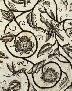 Lady's Jacket, detail. Linen embroidered with black silk. England, 1620s.