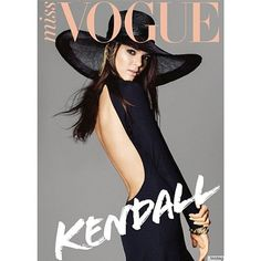 PICTURE Kendall Jenner Wears Backless Dress, Wide-Brimmed Hat On Miss... ❤ liked on Polyvore featuring magazine, backgrounds, fillers, models and magazine covers
