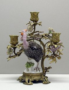 Candelabra with Meissen bird (one of a pair)  Meissen Manufactory  (German, 1710–present)  Date: ca. 1750