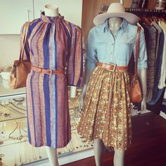Left: fabulous 70s vintage long sleeve,high neck dress,accesorised with tan woven belt and tan vintage handbag; right: New Aeracura skirt made from vintage Aztec style fabric, topped with Mink Pink  light weight denim shirt, akubra hat, vintage tan belt  and handbag #fabulous #70sdress #70s #70sfashion #vintage #seventies #Aztec #skirt #fabric #lightweight #denim #akubra #hat #vintagehandbag #handbag #belt #tan #mixandmatch Akubra Hats, Aztec Skirt, Aztec Style, Tan Belt, Dress Skirt, Shirt Dress, Woven Belt, Pink Light, Vintage Handbags