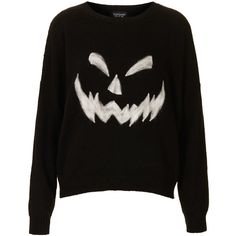 TOPSHOP Knitted Pumpkin Face Jumper featuring polyvore, women's fashion, clothing, tops, sweaters, shirts, jumpers, black, shirt sweater, pumpkin sweater, shirt tops, topshop jumpers and pumpkin shirt