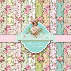 Floral digital paper : Floral Fields shabby chic by puddingpapers