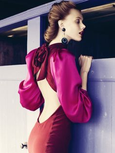 Frida Gustavsson stars in a story of forties fashion for the November issue of Elle Sweden lensed by Andreas Öhlund.