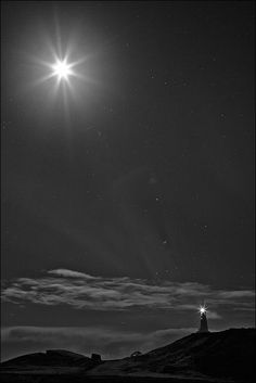 """""""The Friendship Between the Moon & the Lighthouse"""" by Gunnar Gestur Geirmundsson, via 500px / Joy-of-Nature"""