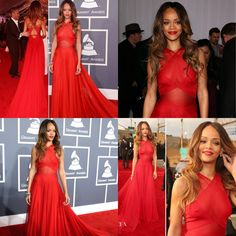 Rihanna, red dress, Grammy awards - can't get over that hair
