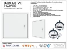 1 Hour UK Fire Rated Laundry Chute Door (To fit 300mm Chute)