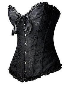 Tonight_Corset Women Sexy Plus Size Corset Overbust Bustier G-string&Stocking,Black 6XL