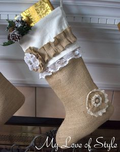diy burlap christmas stocking tutorial, crafts, seasonal holiday d cor, DIY Burlap Christmas Stockings