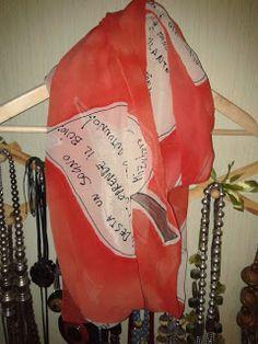 sciarpa in chiffon di seta dipinta a mano con haiku -  handpaited silk chiffon scarf with haiku poems