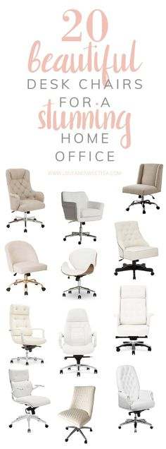 20 Cheap Comfy Desk Chair Ideas for Beautiful Home Offices or Bedrooms for work at home moms or teens, or just a beautiful home office.