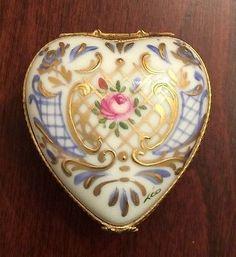 Limoges France Porcelain Signed Floral Heart Box.