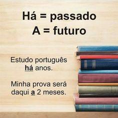 Português dicas  A e ah passado futuro Portuguese Grammar, Portuguese Lessons, Portuguese Language, Mental Map, Learn Brazilian Portuguese, Language Study, Lettering Tutorial, Study Notes, Student Life