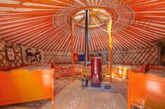 Mongolian Yurt, Lower Saxony, GermanyThe formula is simple: Stay in a yurt, Instagram a lot. This is the most glamorous glamping site of all — full of character, color, and panache, it's wonderfully inviting with its felt and linen furnishings. Outside, it's all apple trees and plum trees, with cooking facilities in the welcoming host's house. $82/night #refinery29 http://www.refinery29.com/crazy-airbnb-rentals#slide-33