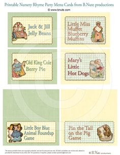 Nursery Rhyme Party  Assorted Printable Party Cards by bnute, $8.00