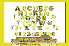 WILD About Yellow Alphabet Clipart by Dragonfly Girls Designs on Creative Market