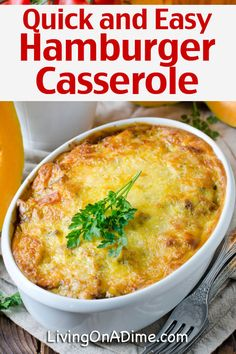Hamburger Casserole Recipes For Quick And Easy Meals! – – Living on a Dime Quick Hamburger Recipes, Easy Hamburger Casserole, Hamburger Meat Dishes, Healthy Meat Recipes, Easy Casserole Recipes, Quick Casseroles, Ground Beef Recipes Easy, Quick Crockpot Meals, Quick Vegetarian Meals