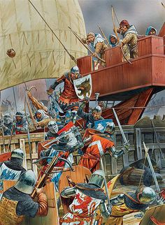"""English men-arms, supported by their archers, board a French ship"", Peter Dennis"