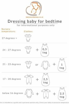 Baby clothes for bedtime by temperature